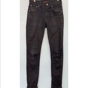 Nudie Lean Dean Skinny Jeans Black Organic Cotton